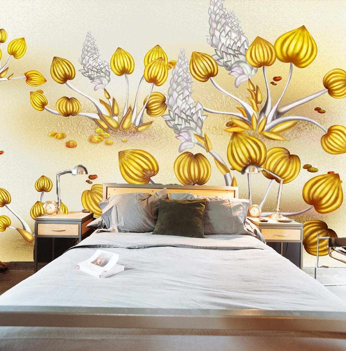 3D Golden Plants 618 WallPaper Murals Wall Print Decal Wall Deco AJ WALLPAPER
