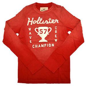 Hollister-Mens-Tshirt-Dudes-Applique-Long-Sleeve-Distressed-Vintage-Red-S-V095