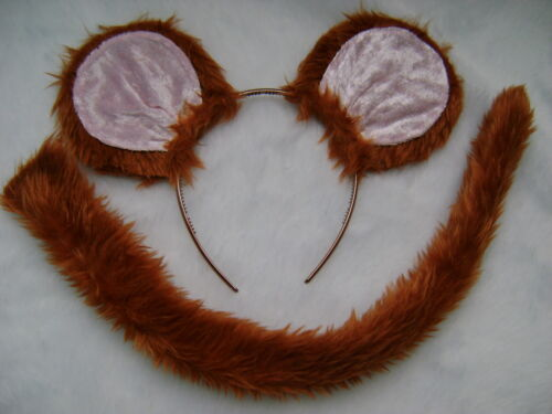 Jerry Mouse Tan Pink Ears /& Tail Set Faux Fur Instant Fancy Dress Kids /& Adult