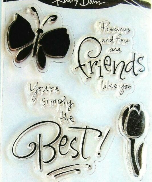 EXPRESSIONS Clear Stamp 97608 Inkadinkado 9 pc set Brand NEW friends butterfly