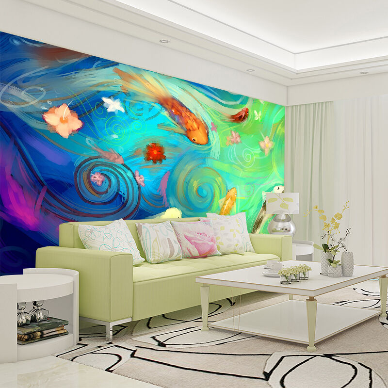 3D Painted carp Fish Wall Paper Print Decal Wall Deco Indoor wall Mural