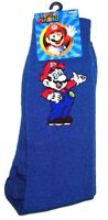 Mens Super Mario Nintendo Blue Crew Socks (shoe Size 6.5-12)