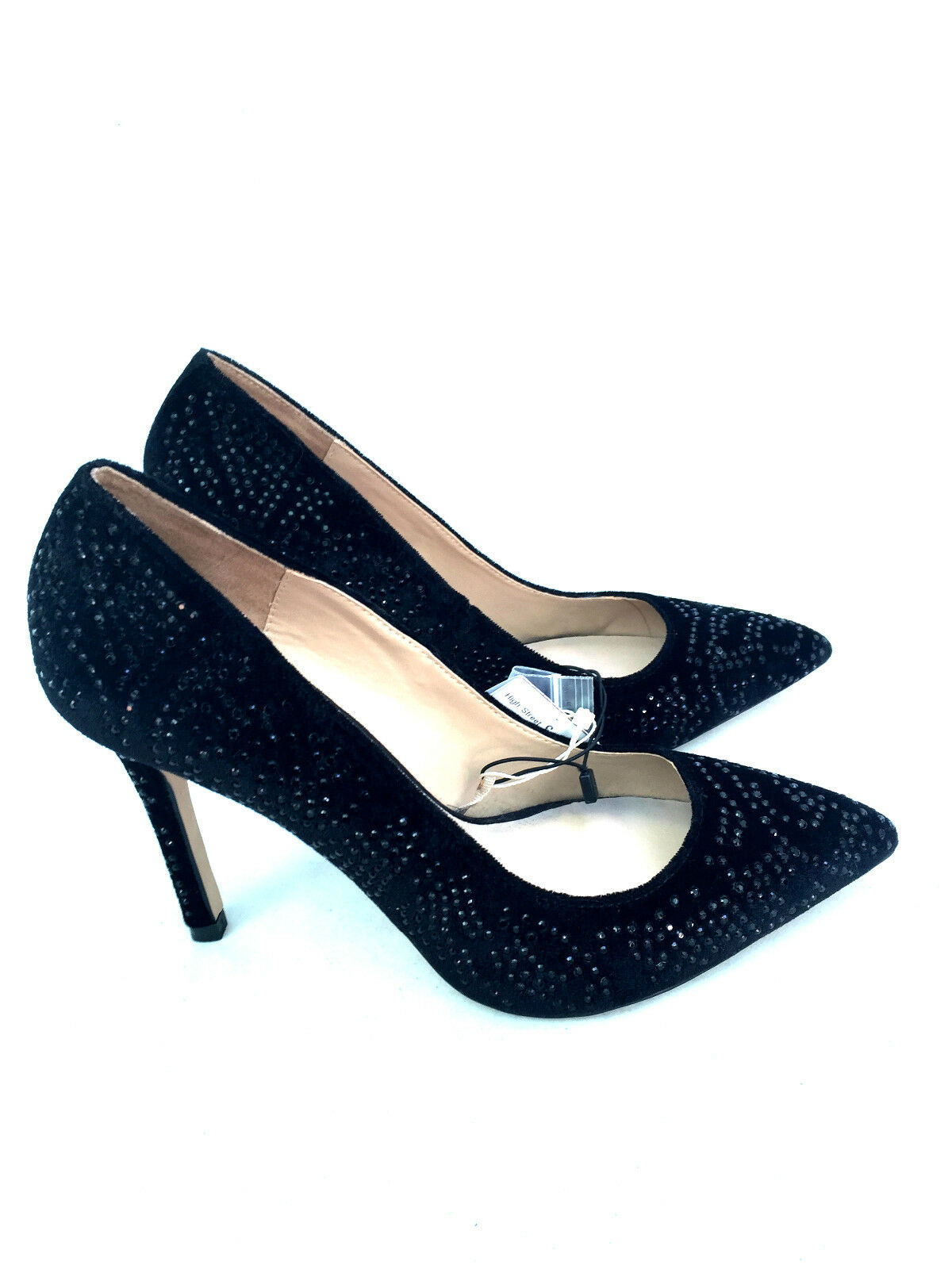 ZARA VELVET HIGH HEEL COURT SHOES WITH DIAMANTE SIZE UK7/EUR40/US9