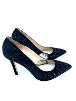 Zara Velvet High Heel Court Shoes With Diamante Size Uk7/eur40/us9