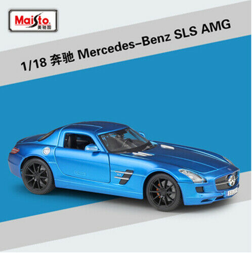 Maisto 1 18 Mercedes Benz SLS AMG Diecast Metal Model Car Toy New bluee