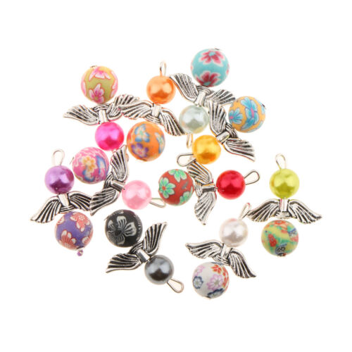 25x Angel Wings Charms Pearl//Clay//Acrylic Beads Pendant DIY Necklace Jewelry