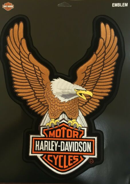 """Harley-Davidson Brown Up-Wing Eagle Patch /""""10 1//2 x 7 3//4 /"""" Made in USA"""