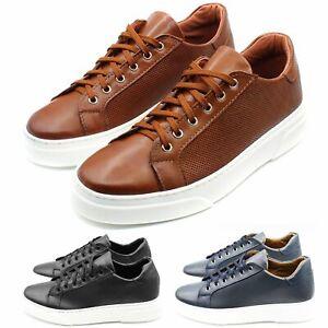Sneakers-Uomo-in-Pelle-Basse-Nere-Blu-Scarpe-da-Ginnastica-Sportive-Eleganti