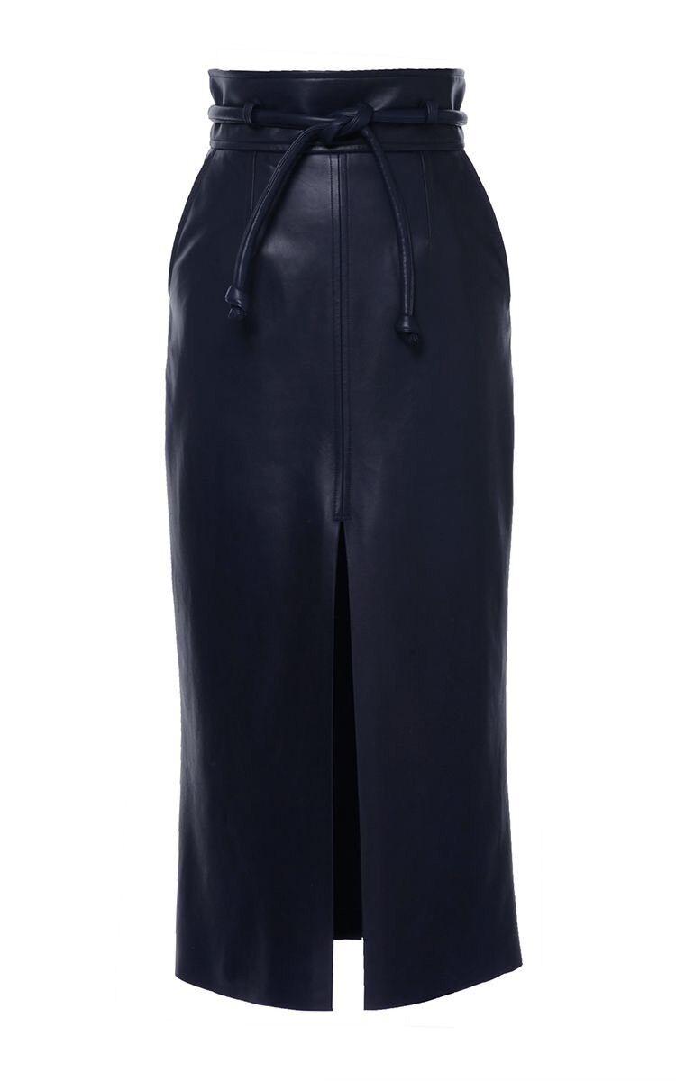 Lambskin Leather Long High Waist Centre Split Skirt
