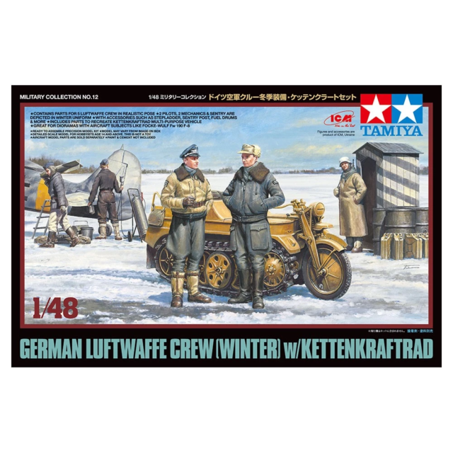 Tamiya 32412 1/48 German Luftwaffe Crew Winter with Kettenkraftrad Plastic Model