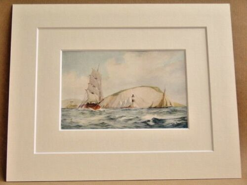 THE NEEDLES I.O.W SAILING SHIPS VERY RARE ANTIQUE DOUBLE MOUNTED PRINT 1908 10X8
