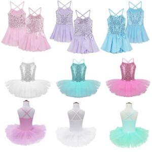 Girls-Gymnastics-Ballet-Dress-Kids-Leotard-Tutu-Skirt-Dance-Ballerina-Costume