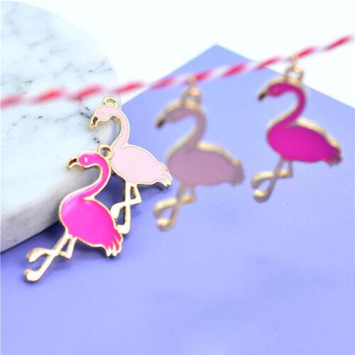 10 Pcs Enamel Flamingo Pendant Charms For DIY Necklace Bracelet Jewelry MarkeJM