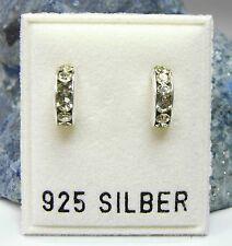 NEU 925 Silber OHRSTECKER Creolen SWAROVSKI STEINE gelb/grün OHRRINGE