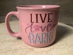 LIVE LOVE BARK LARGE 16oz Coffee Tea Mug Dog NEW GREAT GIFT NICE MUG !!