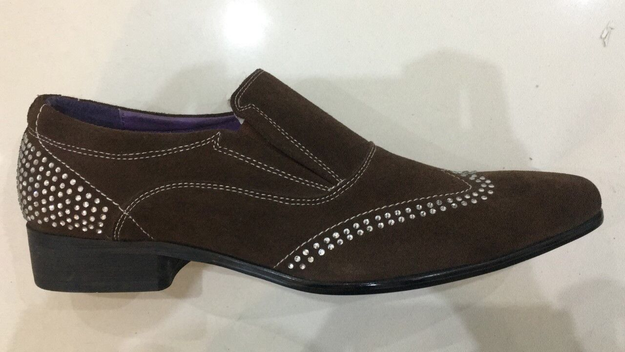 7ced3d0c4247 MENS FORMAL DIAMOND SHOES BROWN SLIP ON ITALIAN STYLE DC195-5A GUCINARI  SMART nazxzs1932-Formal Shoes