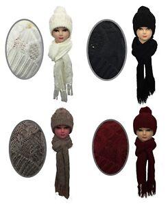 Nouveau-Chapeau-amp-Echarpe-Bonnet-Pompon-Ski-Chapeau-Bonnet-Tricot-boule-Pom-Noir-Blanc-Rouge-Lick