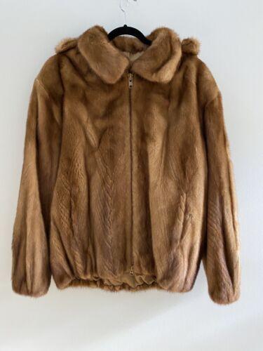 Men's Genuine Mink Fur Hooded Bomber Coat Jacket