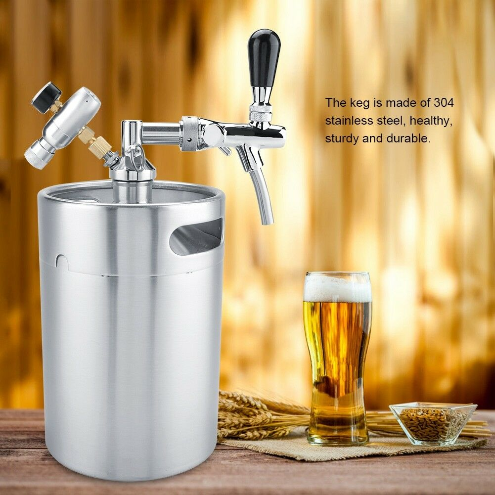 5L Beer Growler Keg  Dispenser Mini Keg  Beer Tap Adjustable Stainless Steel