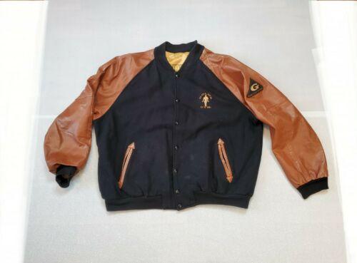 Vintage Men's XXL Golds Gym Wool Leather Bomber Le