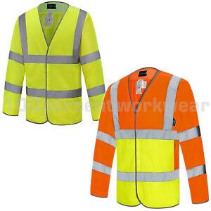 Aqua-Hi-Vis-Visibility-Vented-Mesh-Vest-Jacket-Lightweight-Long-Sleeves-High-Viz