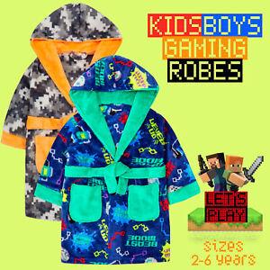 Kids Boys Gaming Dressing Gown Novelty Fleece Game Robe
