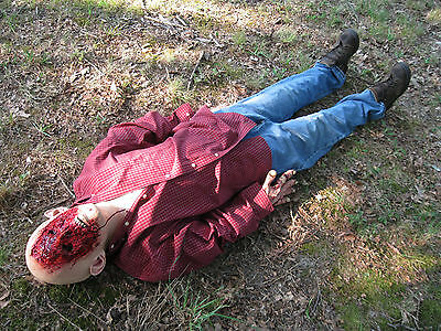 6' Gory Zombie Man Laying Scary Victim Haunted House Halloween Life Size Prop