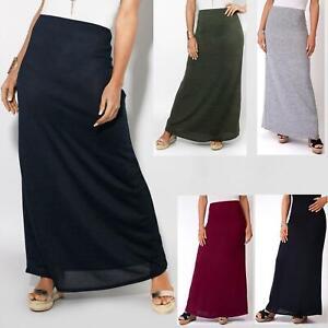 Womens-Ladies-Maxi-Skirt-High-Waist-A-Line-Long-Knit-Stretch-Bodycon-Casual-Boho