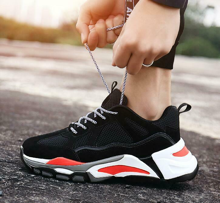 Fashion Mens Suede Leather Breathable Mesh Sport shoes Outdoor Athletic Sneakers