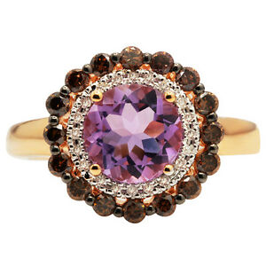 14k rose gold brown champagne diamond pink amethyst round. Black Bedroom Furniture Sets. Home Design Ideas