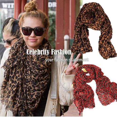 Celebrity Oversized Extra Long Leopard Print Scarf Tassel Hem Silk Cotton RRP$40
