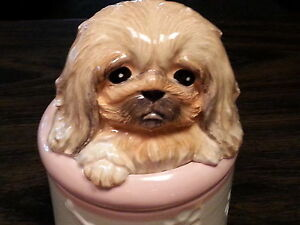 PEKINESE Porcelain Dog Treat Cookie Jar Ceramic Figurine Quality By DNC  #CJ-028