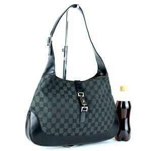 af5463f28f43 Auth GUCCI GG Black Canvas & Leather Jackie Hobo One Shoulder Bag ...