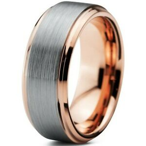 Image is loading Tungsten-Carbide-Rose-Gold-Brushed-Silver-Inlay-Mens- 749bb5998