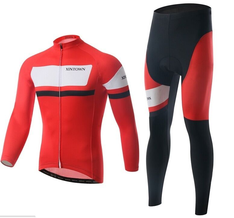 2015 New Red Unisex Autumn Long Sleeve Cycling Clothing Jersey & Pants set