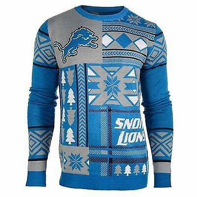 Ugly Christmas Sweater Nfl Detroit Snow Lions Patches Football Xmas Crew Neck | eBay