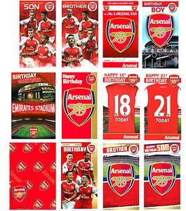 UFFICIALE Arsenal Football Birthday Card Regalo Wrap Fratello