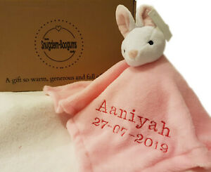 Personalised-Pink-Easter-Bunny-Comforter-toy-Blanket-for-babies-Gift-Toy