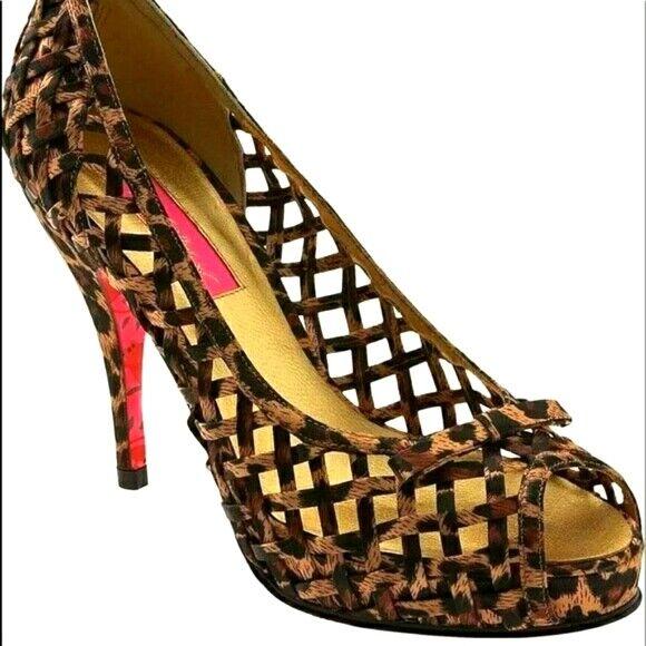 Aldo Beira cheetah print lattice peep toe shoes size 8