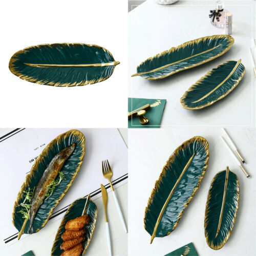 2x Nordic Style Ceramic Jewerly Tray Green Leaf Shaped Cake for Earrings