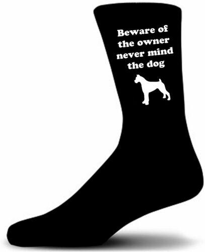 Great Birthday Gift Beware of the Boxer Dog on Black Socks Novelty Socks.