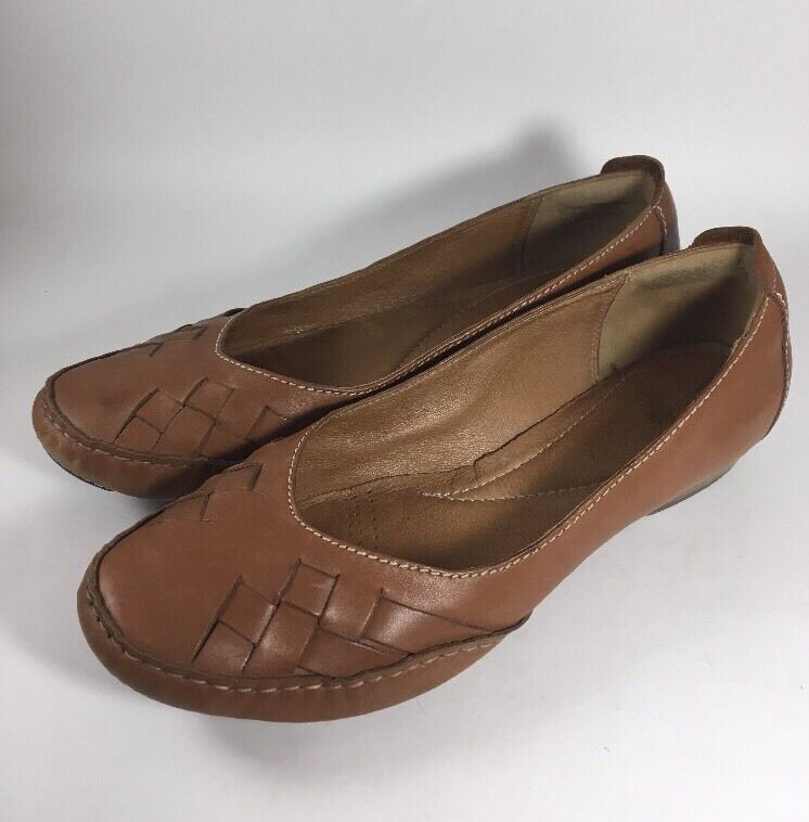 Clarks Artisan Brown Leather Flats Slip-On Comfort shoes Women's 8.5 M Woven