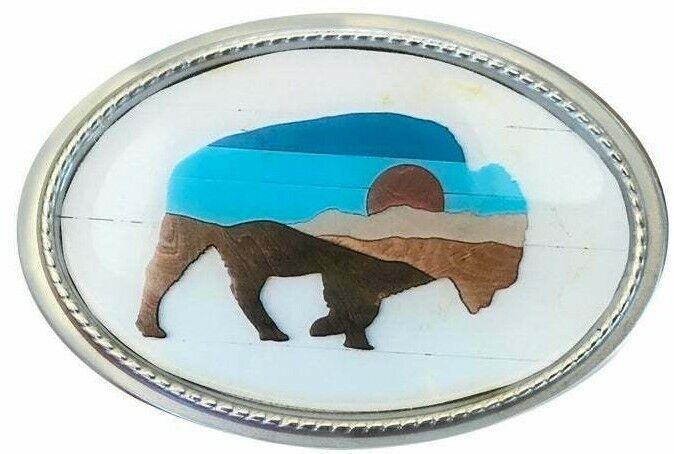Vtg Buffalo Aufdruck Gürtelschnalle Kunst Malerei Bison Yellowstone Mond Berg