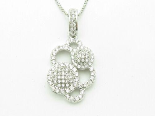 PLATINUM STERLING SILVER DIAMOND SET MICRO PAVE WHITE SAPPHIRE SOLAR PENDANT NWT