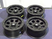 14 Honda Pioneer 500 Beadlock Black Atv Wheels Set 4 - Lifetime Warranty