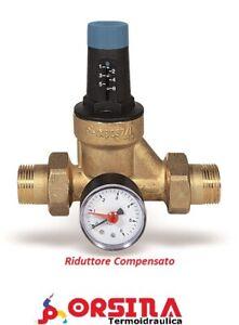 Riduttore di Pressione acqua Stabilizzato compensato da 1/2 Watts con manometro