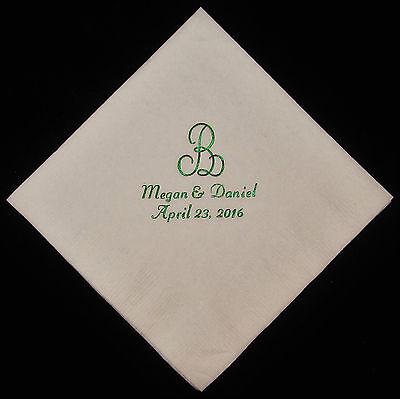 50 personalized monogram beverage napkins wedding napkins custom napkins
