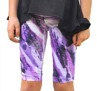 Girls Sparkly Metallic Spandex Blend Capri Leggings Dance Gymnastics Size 4-10