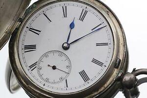 Antique-Victorian-Sterling-Silver-L-Rombach-Glasgow-Scotland-Pocket-Watch