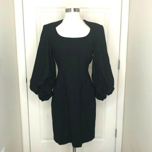 VTG 1980s Joanna Mastroianni 8 Black Wool Dress B… - image 1